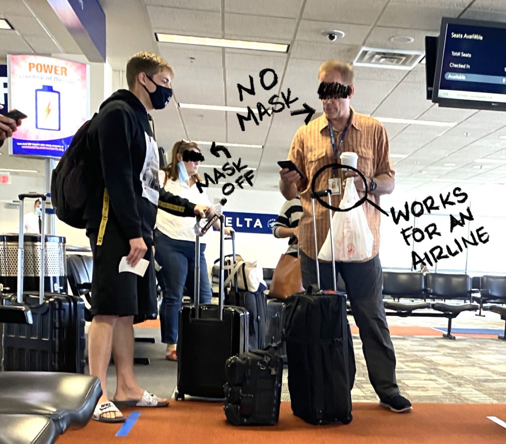No mask on in airport