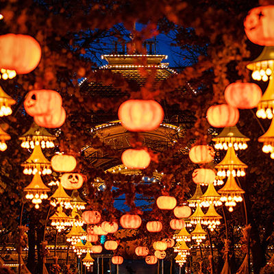 Halloween decorations at night in Tivoli gardens